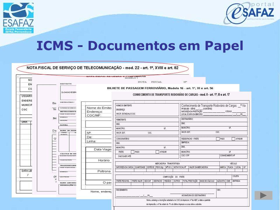 Documentos Fiscais do ICMS Mercadorias e Serviços Entradas e Aquisições Mercadorias e Produtos Energia Elétrica Serviço de Transporte Serviço de Comun