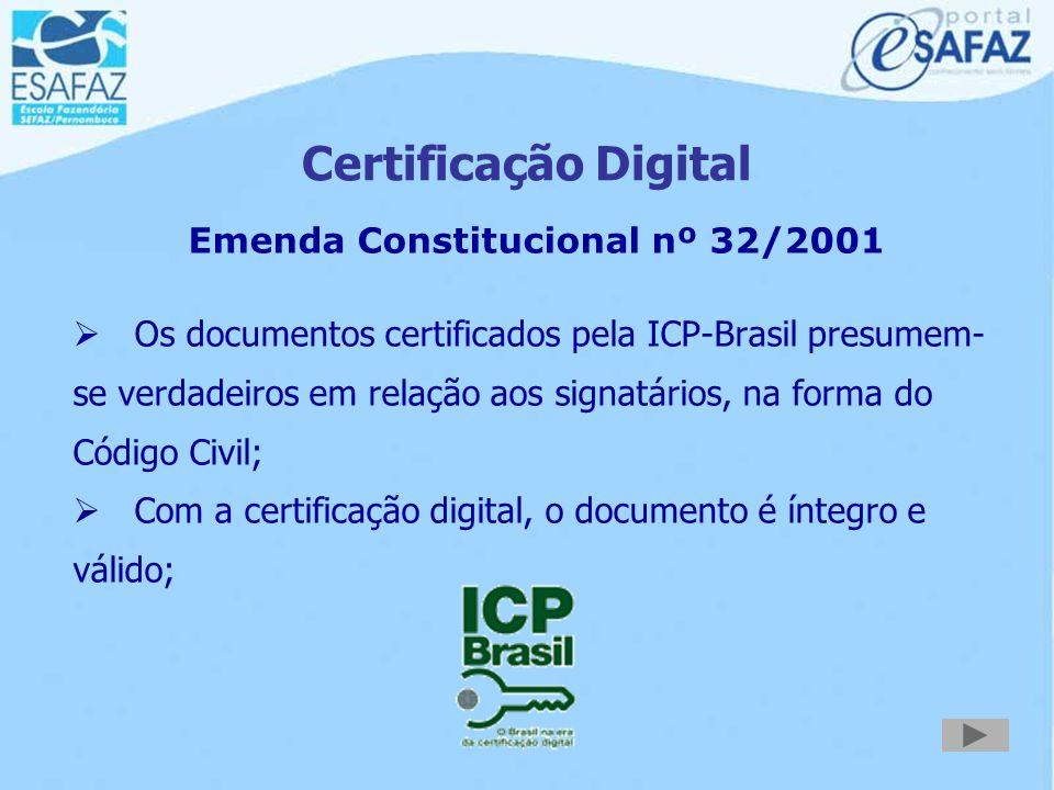 Certificação Digital Art. 1º- Fica instituída a Infra-Estrutura de Chaves Públicas Brasileira - ICP-Brasil, para garantir a autenticidade, a integrida