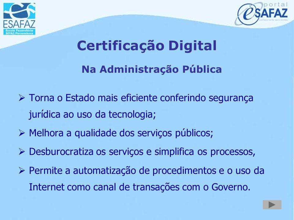 Certificação Digital Autoridades Certificadoras : Empresas que detêm a tecnologia de gerar e armazenar com segurança a certificação digital ICP - Bras