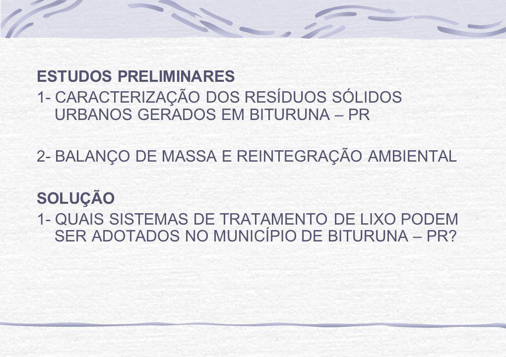 ESTUDOS PRELIMINARES 1- CARACTERIZAÇÃO DOS RESÍDUOS SÓLIDOS URBANOS GERADOS EM BITURUNA – PR 2- BALANÇO DE MASSA E REINTEGRAÇÃO AMBIENTAL SOLUÇÃO 1- QUAIS SISTEMAS DE TRATAMENTO DE LIXO PODEM SER ADOTADOS NO MUNICÍPIO DE BITURUNA – PR