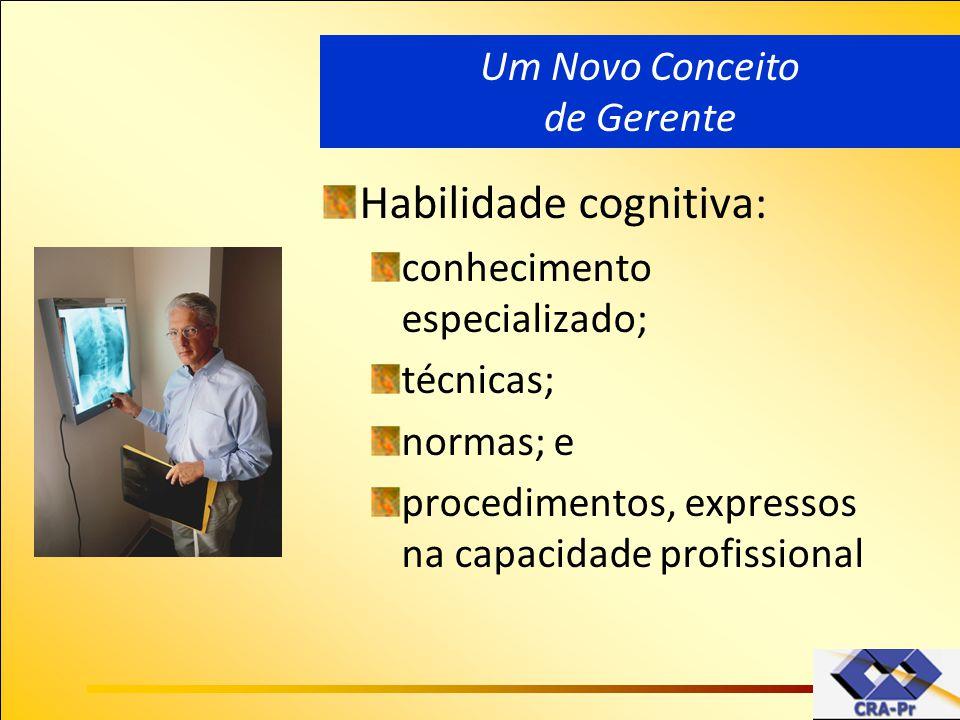 Habilidade cognitiva: conhecimento especializado; técnicas; normas; e procedimentos, expressos na capacidade profissional Um Novo Conceito de Gerente