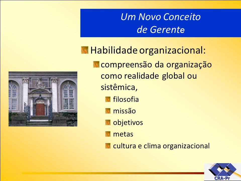 Habilidade organizacional: compreensão da organização como realidade global ou sistêmica, filosofia missão objetivos metas cultura e clima organizacio