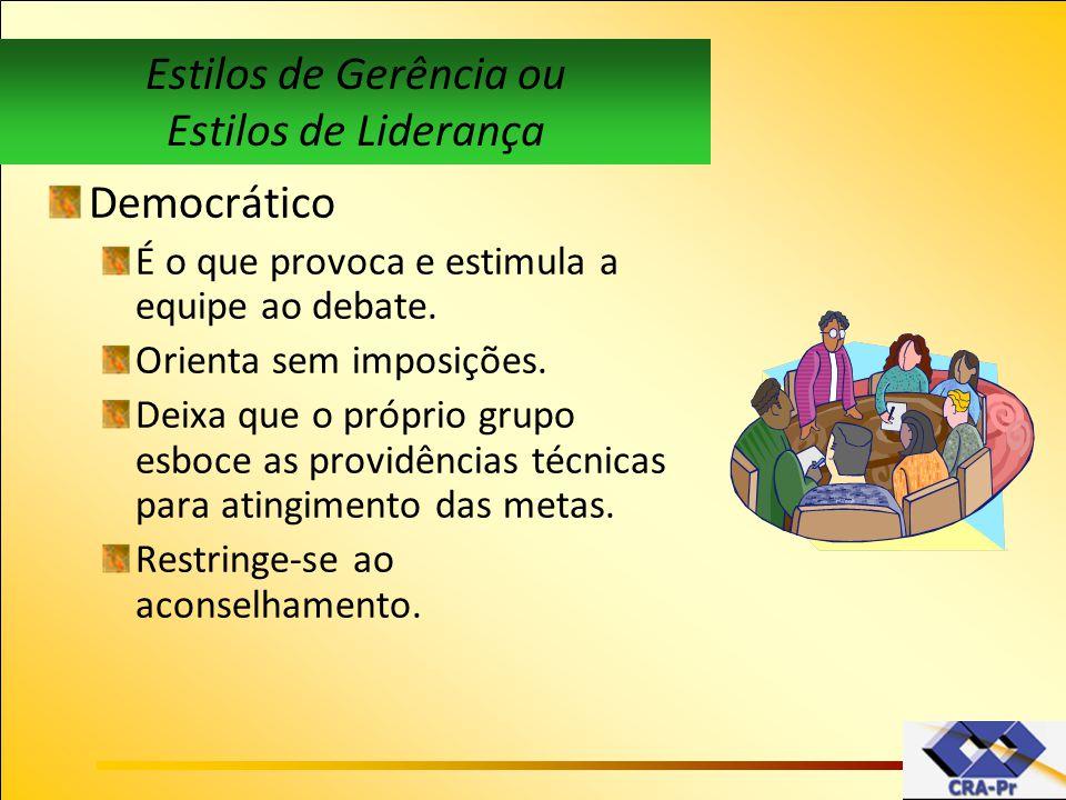 Democrático É o que provoca e estimula a equipe ao debate. Orienta sem imposições. Deixa que o próprio grupo esboce as providências técnicas para atin