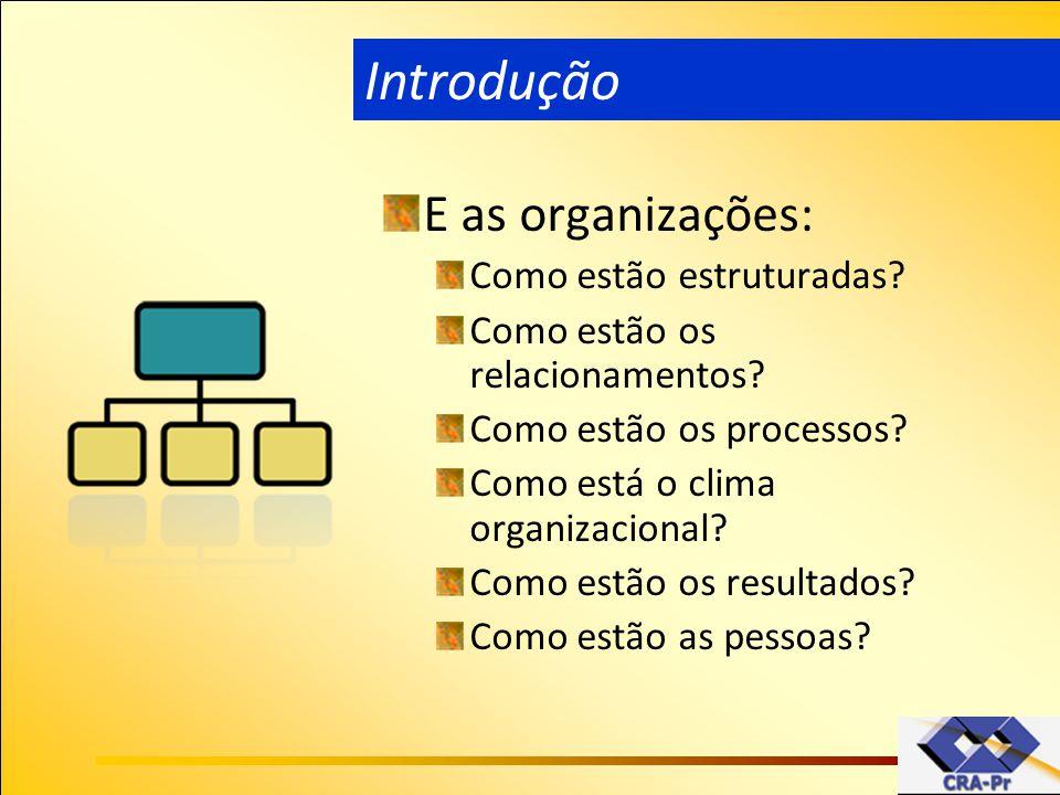 E as organizações: Como estão estruturadas? Como estão os relacionamentos? Como estão os processos? Como está o clima organizacional? Como estão os re