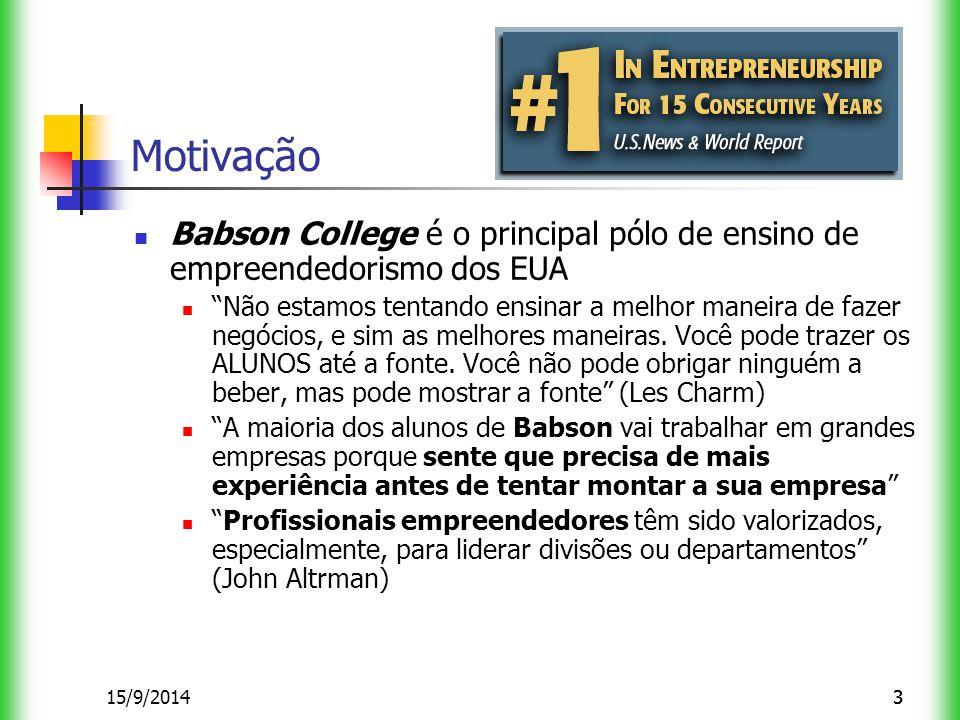 315/9/20143 Motivação Babson College é o principal pólo de ensino de empreendedorismo dos EUA Não estamos tentando ensinar a melhor maneira de fazer negócios, e sim as melhores maneiras.