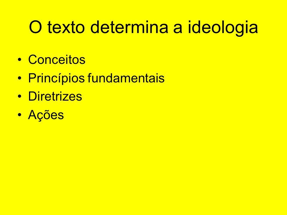 O texto determina a ideologia Conceitos Princípios fundamentais Diretrizes Ações