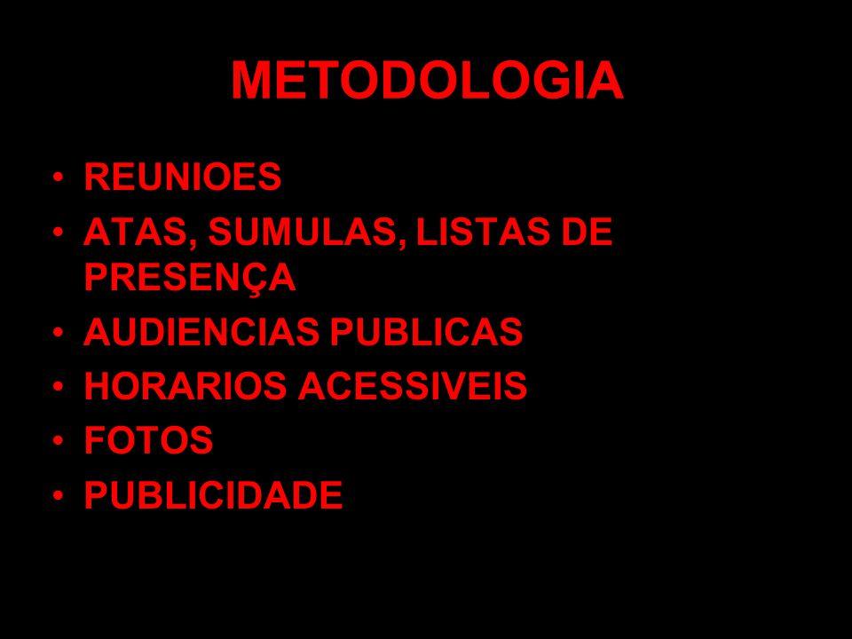 METODOLOGIA REUNIOES ATAS, SUMULAS, LISTAS DE PRESENÇA AUDIENCIAS PUBLICAS HORARIOS ACESSIVEIS FOTOS PUBLICIDADE