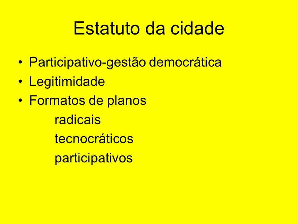 Estatuto da cidade Participativo-gestão democrática Legitimidade Formatos de planos radicais tecnocráticos participativos