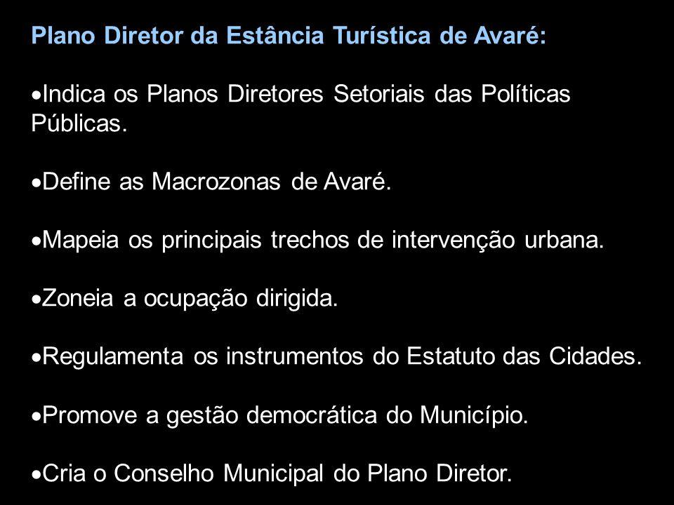 Plano Diretor da Estância Turística de Avaré:  Indica os Planos Diretores Setoriais das Políticas Públicas.  Define as Macrozonas de Avaré.  Mapeia