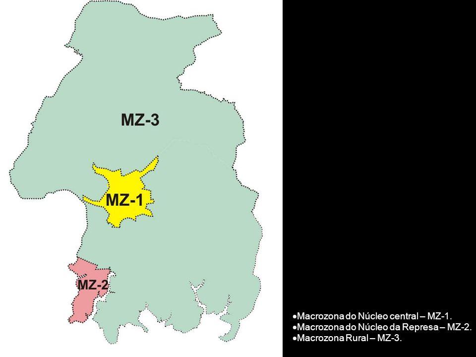  Macrozona do Núcleo central – MZ-1.  Macrozona do Núcleo da Represa – MZ-2.  Macrozona Rural – MZ-3.