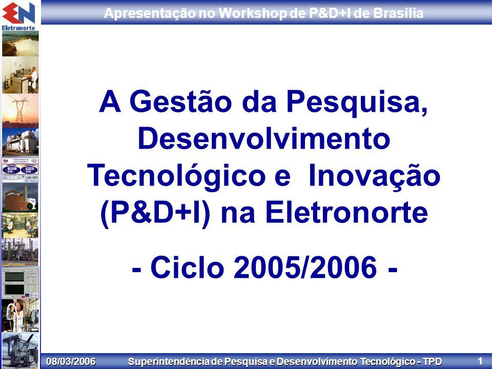 08/03/2006 Superintendência de Pesquisa e Desenvolvimento Tecnológico - TPD Apresentação no Workshop de P&D+I de Brasília 1 A Gestão da Pesquisa, Desenvolvimento Tecnológico e Inovação (P&D+I) na Eletronorte - Ciclo 2005/2006 -