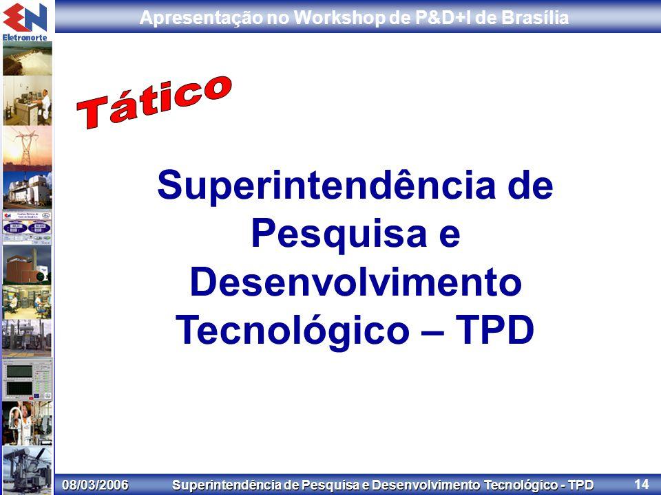 08/03/2006 Superintendência de Pesquisa e Desenvolvimento Tecnológico - TPD Apresentação no Workshop de P&D+I de Brasília 14 Superintendência de Pesquisa e Desenvolvimento Tecnológico – TPD