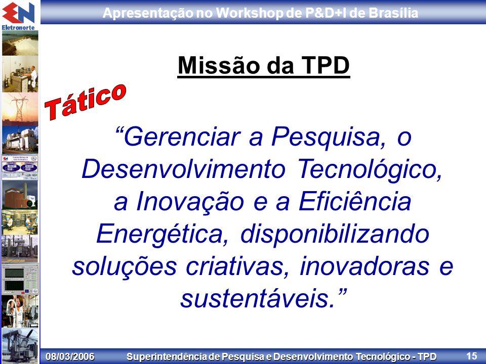 08/03/2006 Superintendência de Pesquisa e Desenvolvimento Tecnológico - TPD Apresentação no Workshop de P&D+I de Brasília 15 Missão da TPD Gerenciar a Pesquisa, o Desenvolvimento Tecnológico, a Inovação e a Eficiência Energética, disponibilizando soluções criativas, inovadoras e sustentáveis.