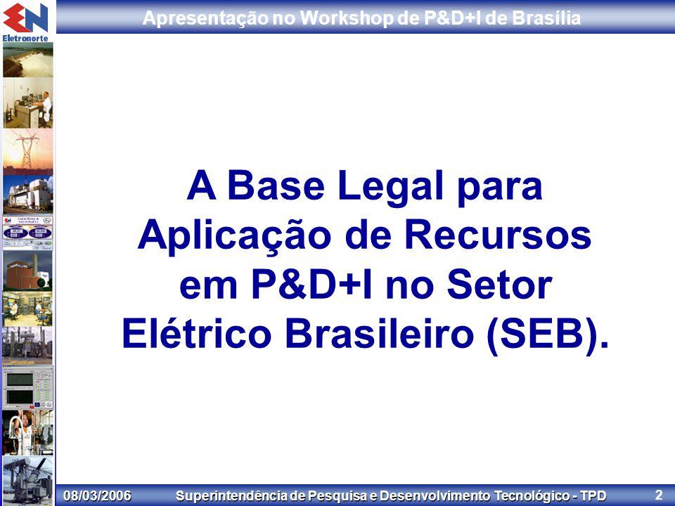 08/03/2006 Superintendência de Pesquisa e Desenvolvimento Tecnológico - TPD Apresentação no Workshop de P&D+I de Brasília 2 A Base Legal para Aplicação de Recursos em P&D+I no Setor Elétrico Brasileiro (SEB).