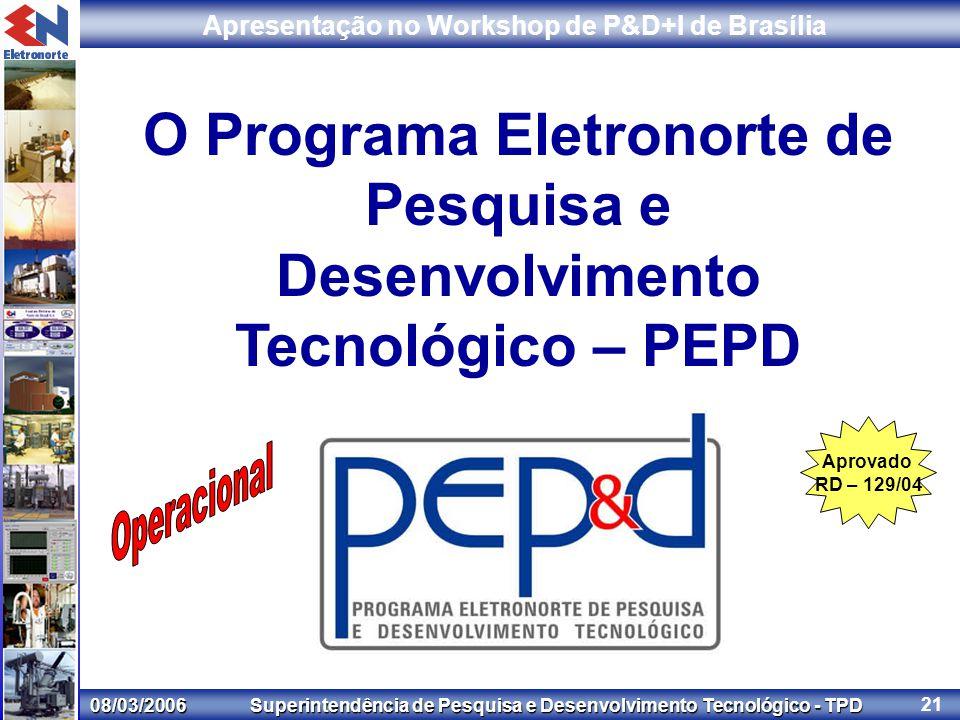 08/03/2006 Superintendência de Pesquisa e Desenvolvimento Tecnológico - TPD Apresentação no Workshop de P&D+I de Brasília 21 O Programa Eletronorte de Pesquisa e Desenvolvimento Tecnológico – PEPD Aprovado RD – 129/04