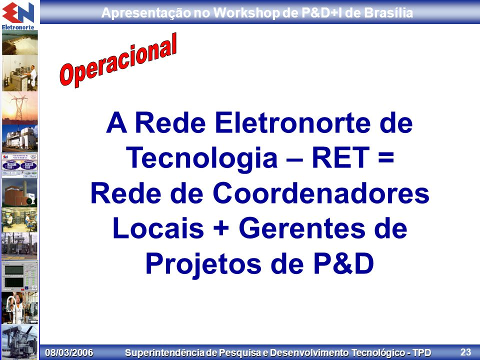 08/03/2006 Superintendência de Pesquisa e Desenvolvimento Tecnológico - TPD Apresentação no Workshop de P&D+I de Brasília 23 A Rede Eletronorte de Tecnologia – RET = Rede de Coordenadores Locais + Gerentes de Projetos de P&D