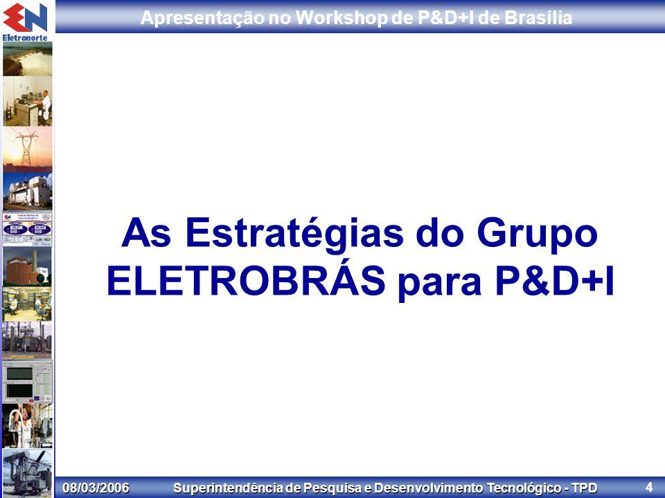 08/03/2006 Superintendência de Pesquisa e Desenvolvimento Tecnológico - TPD Apresentação no Workshop de P&D+I de Brasília 4 As Estratégias do Grupo ELETROBRÁS para P&D+I