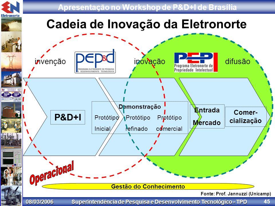 08/03/2006 Superintendência de Pesquisa e Desenvolvimento Tecnológico - TPD Apresentação no Workshop de P&D+I de Brasília 45 invençãoinovaçãodifusão Cadeia de Inovação da Eletronorte Fonte: Prof.