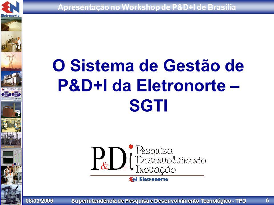 08/03/2006 Superintendência de Pesquisa e Desenvolvimento Tecnológico - TPD Apresentação no Workshop de P&D+I de Brasília 6 O Sistema de Gestão de P&D+I da Eletronorte – SGTI