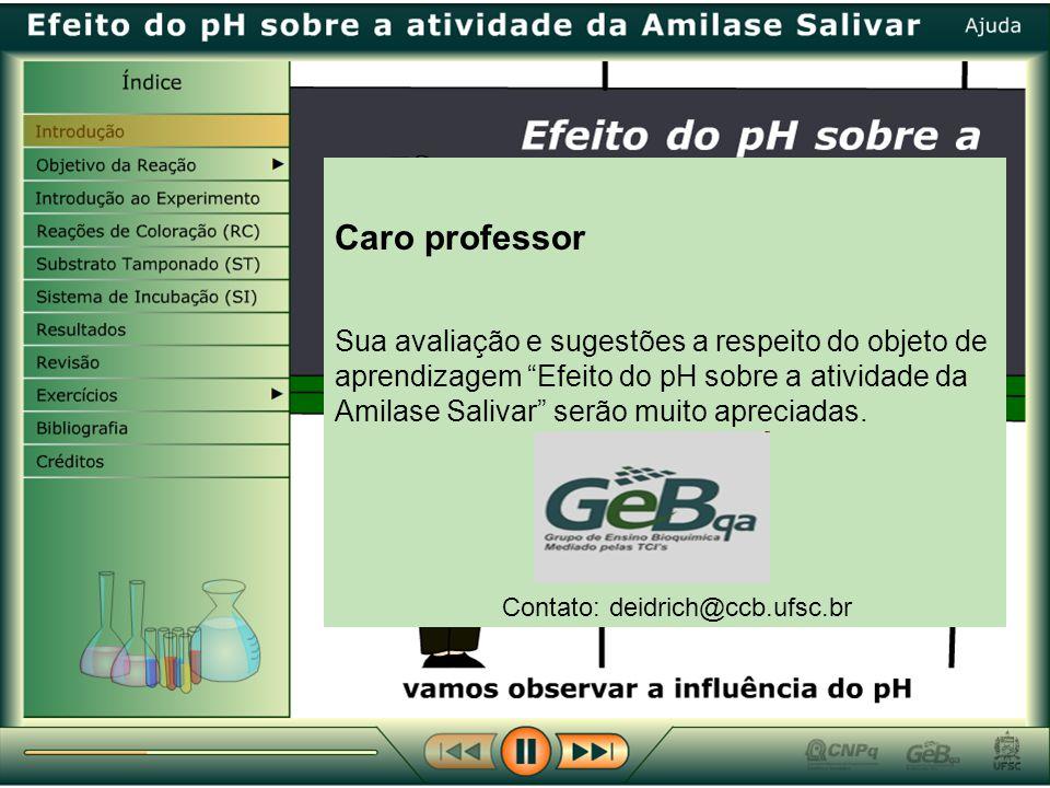 Caro professor Sua avaliação e sugestões a respeito do objeto de aprendizagem Efeito do pH sobre a atividade da Amilase Salivar serão muito apreciadas.