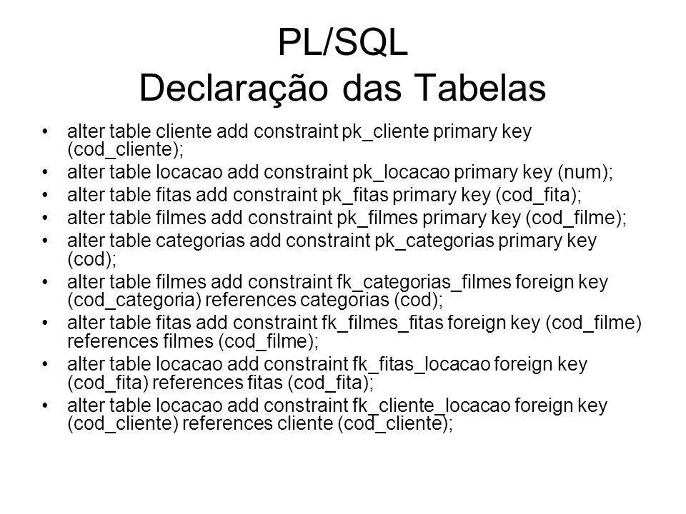 PL/SQL Declaração das Tabelas alter table cliente add constraint pk_cliente primary key (cod_cliente); alter table locacao add constraint pk_locacao primary key (num); alter table fitas add constraint pk_fitas primary key (cod_fita); alter table filmes add constraint pk_filmes primary key (cod_filme); alter table categorias add constraint pk_categorias primary key (cod); alter table filmes add constraint fk_categorias_filmes foreign key (cod_categoria) references categorias (cod); alter table fitas add constraint fk_filmes_fitas foreign key (cod_filme) references filmes (cod_filme); alter table locacao add constraint fk_fitas_locacao foreign key (cod_fita) references fitas (cod_fita); alter table locacao add constraint fk_cliente_locacao foreign key (cod_cliente) references cliente (cod_cliente);
