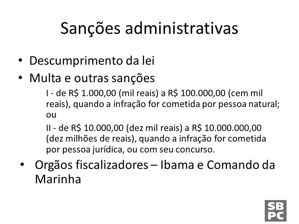Sanções administrativas Descumprimento da lei Multa e outras sanções I - de R$ 1.000,00 (mil reais) a R$ 100.000,00 (cem mil reais), quando a infração for cometida por pessoa natural; ou II - de R$ 10.000,00 (dez mil reais) a R$ 10.000.000,00 (dez milhões de reais), quando a infração for cometida por pessoa jurídica, ou com seu concurso.