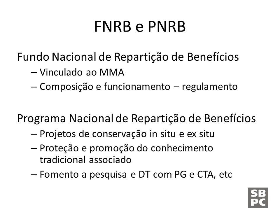 FNRB e PNRB Fundo Nacional de Repartição de Benefícios – Vinculado ao MMA – Composição e funcionamento – regulamento Programa Nacional de Repartição de Benefícios – Projetos de conservação in situ e ex situ – Proteção e promoção do conhecimento tradicional associado – Fomento a pesquisa e DT com PG e CTA, etc