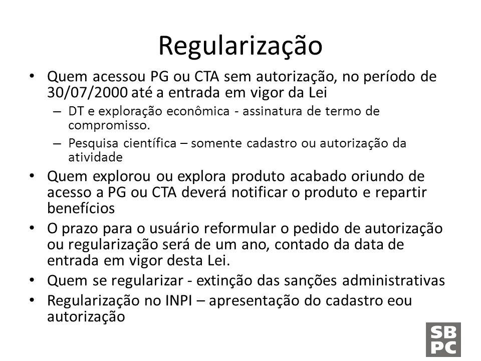 Regularização Quem acessou PG ou CTA sem autorização, no período de 30/07/2000 até a entrada em vigor da Lei – DT e exploração econômica - assinatura de termo de compromisso.