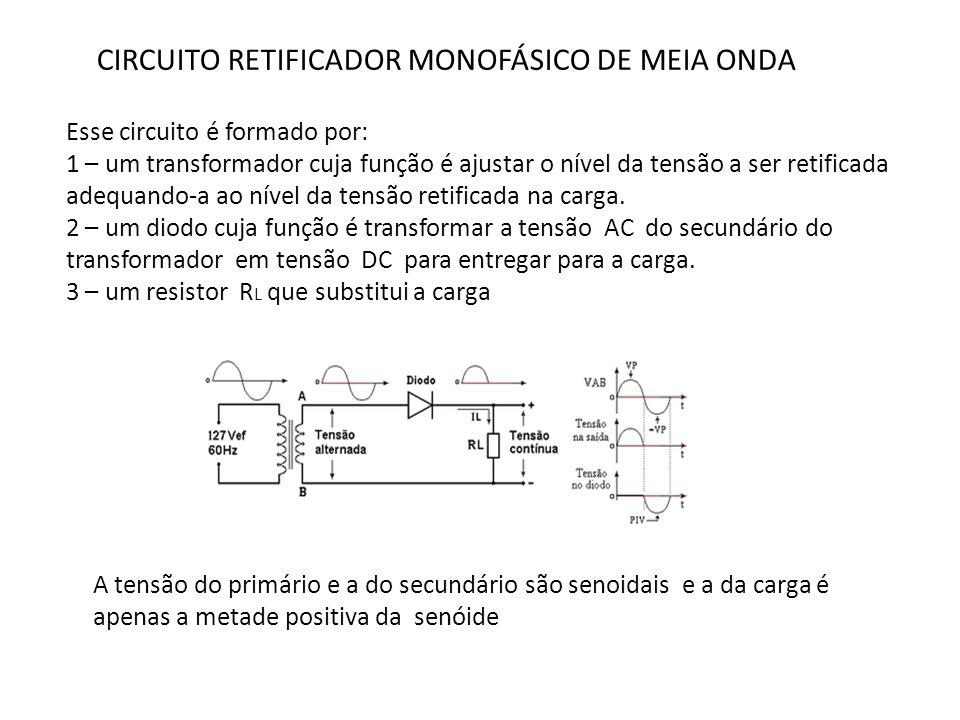 CIRCUITO RETIFICADOR MONOFÁSICO DE MEIA ONDA Esse circuito é formado por: 1 – um transformador cuja função é ajustar o nível da tensão a ser retificad