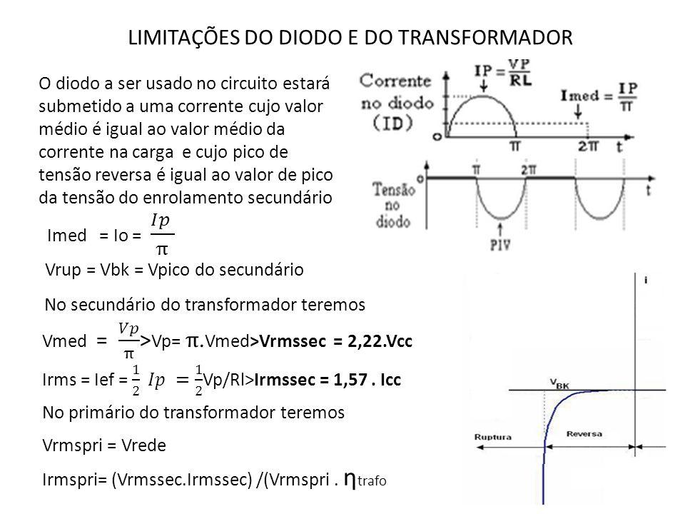 LIMITAÇÕES DO DIODO E DO TRANSFORMADOR O diodo a ser usado no circuito estará submetido a uma corrente cujo valor médio é igual ao valor médio da corr