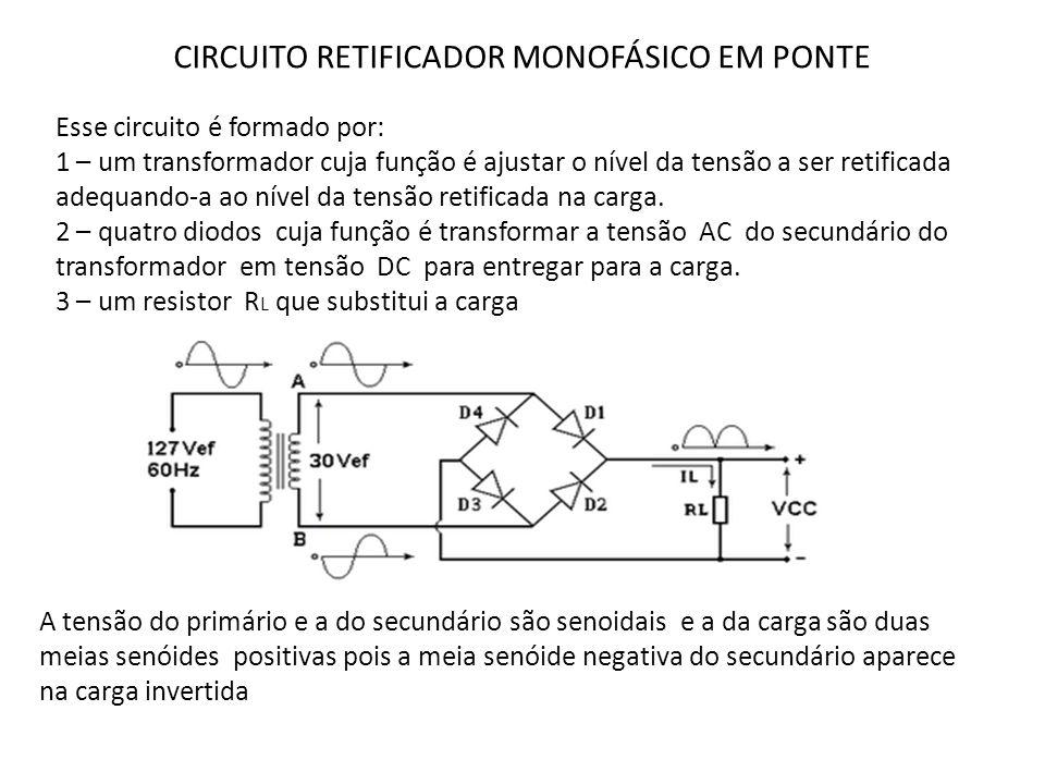 CIRCUITO RETIFICADOR MONOFÁSICO EM PONTE Esse circuito é formado por: 1 – um transformador cuja função é ajustar o nível da tensão a ser retificada ad
