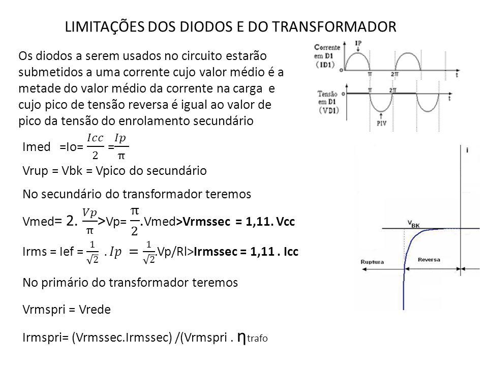 LIMITAÇÕES DOS DIODOS E DO TRANSFORMADOR Os diodos a serem usados no circuito estarão submetidos a uma corrente cujo valor médio é a metade do valor m