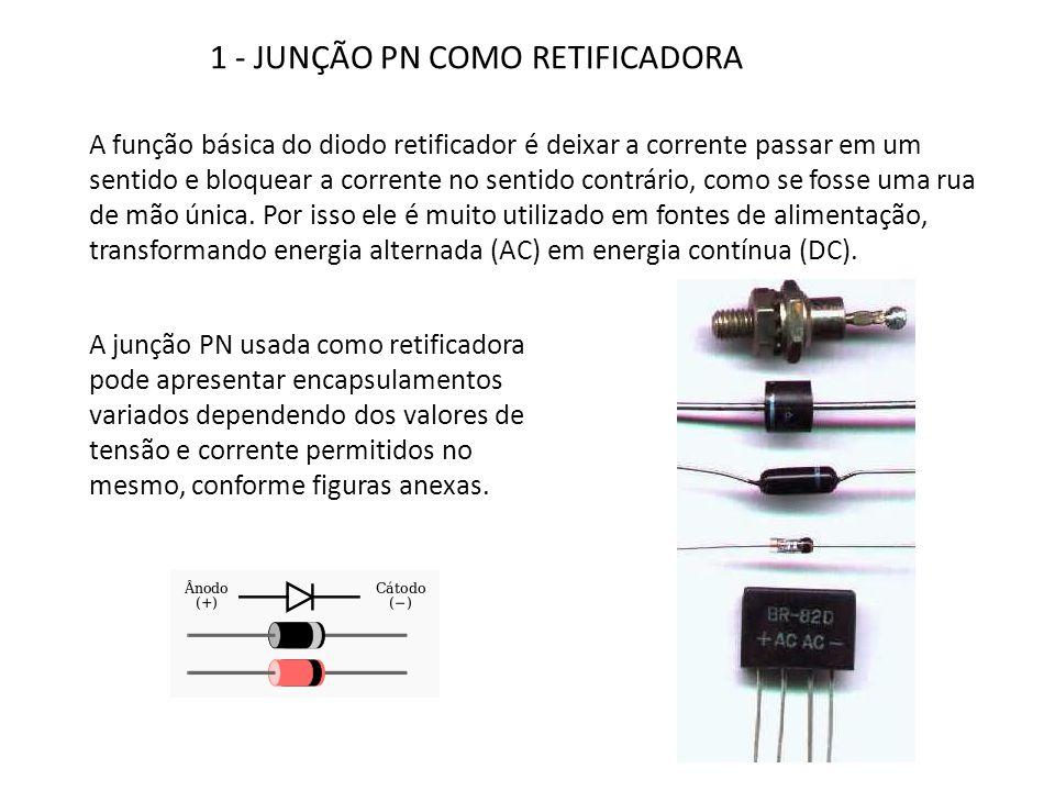 1 - JUNÇÃO PN COMO RETIFICADORA A função básica do diodo retificador é deixar a corrente passar em um sentido e bloquear a corrente no sentido contrár