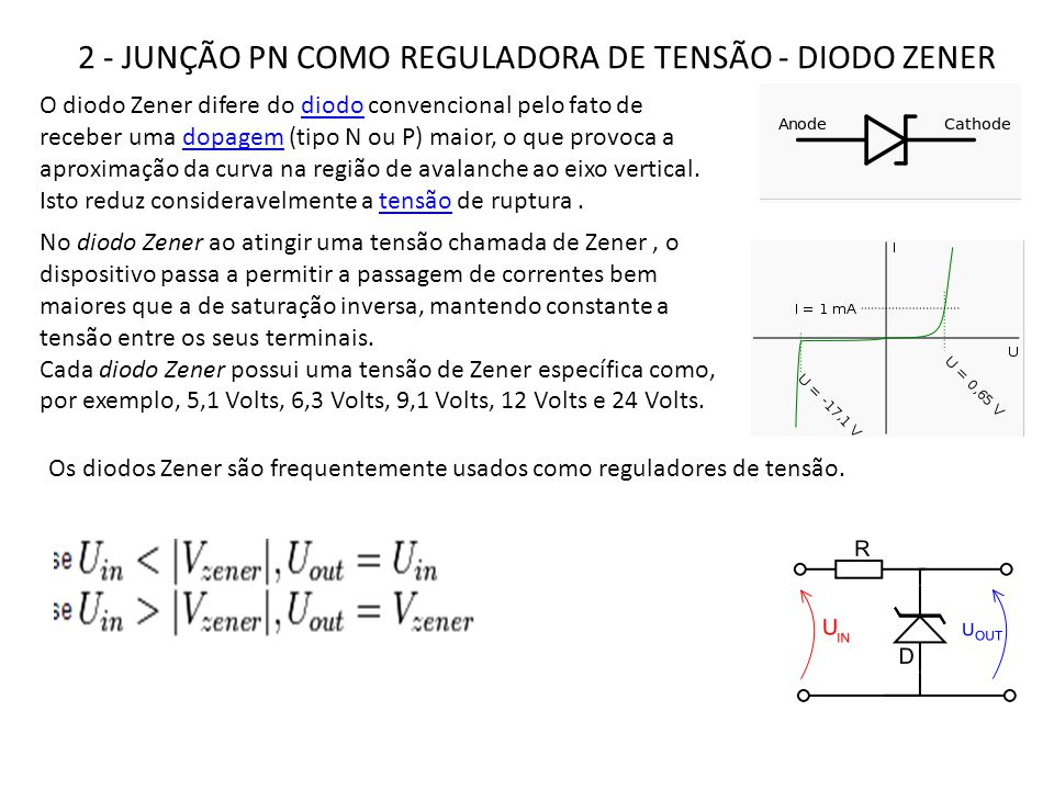 O diodo Zener difere do diodo convencional pelo fato de receber uma dopagem (tipo N ou P) maior, o que provoca a aproximação da curva na região de ava