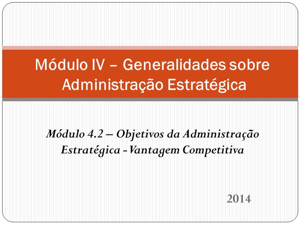 2014 Módulo IV – Generalidades sobre Administração Estratégica Módulo 4.2 – Objetivos da Administração Estratégica - Vantagem Competitiva