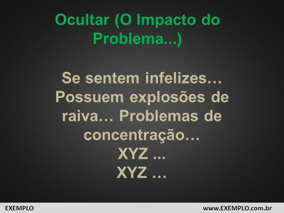 Se sentem infelizes… Possuem explosões de raiva… Problemas de concentração… XYZ... XYZ … www.EXEMPLO.com.brEXEMPLO Ocultar (O Impacto do Problema...)