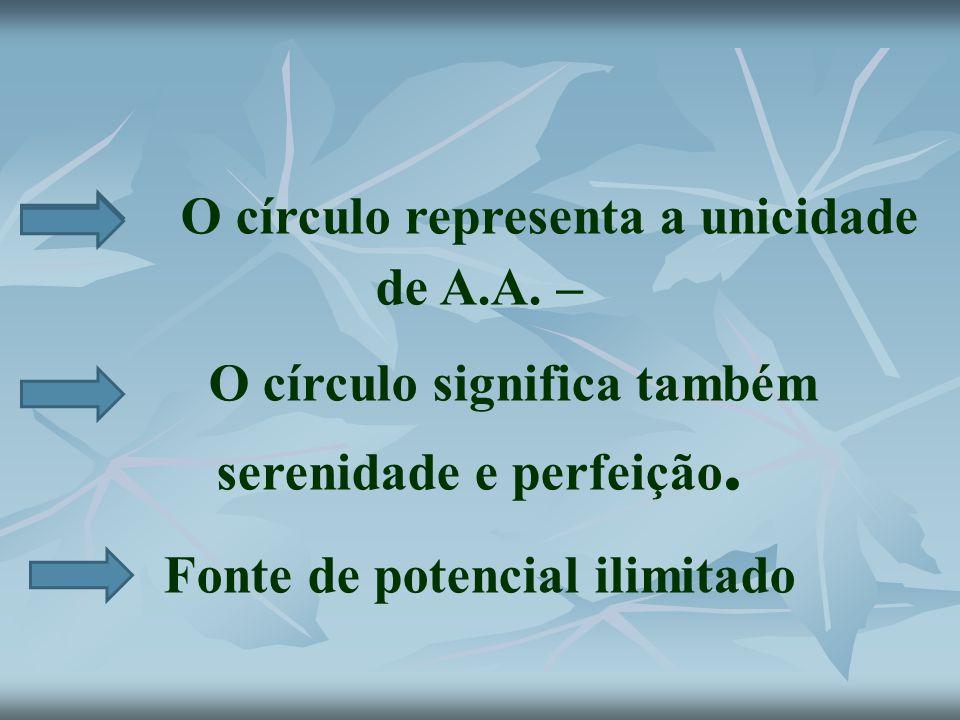 O círculo representa a unicidade de A.A. – O círculo significa também serenidade e perfeição. Fonte de potencial ilimitado