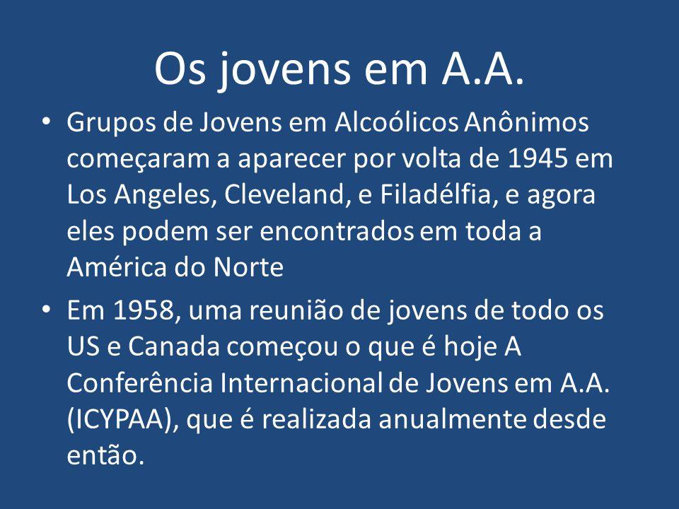Os jovens em A.A. Grupos de Jovens em Alcoólicos Anônimos começaram a aparecer por volta de 1945 em Los Angeles, Cleveland, e Filadélfia, e agora eles