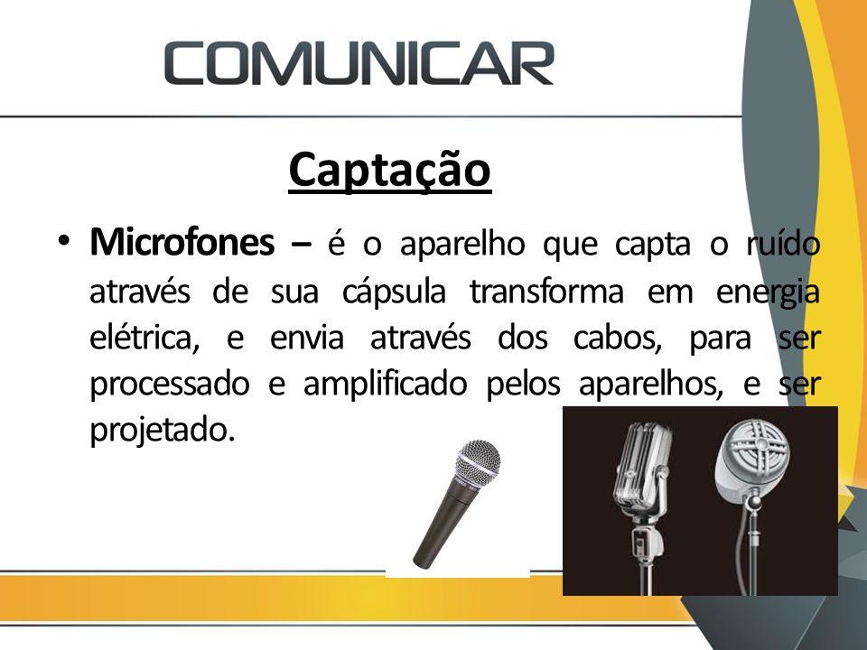 Captação Microfones – é o aparelho que capta o ruído através de sua cápsula transforma em energia elétrica, e envia através dos cabos, para ser proces