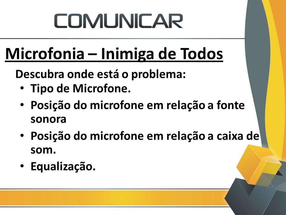 Microfonia – Inimiga de Todos Tipo de Microfone. Posição do microfone em relação a fonte sonora Posição do microfone em relação a caixa de som. Equali