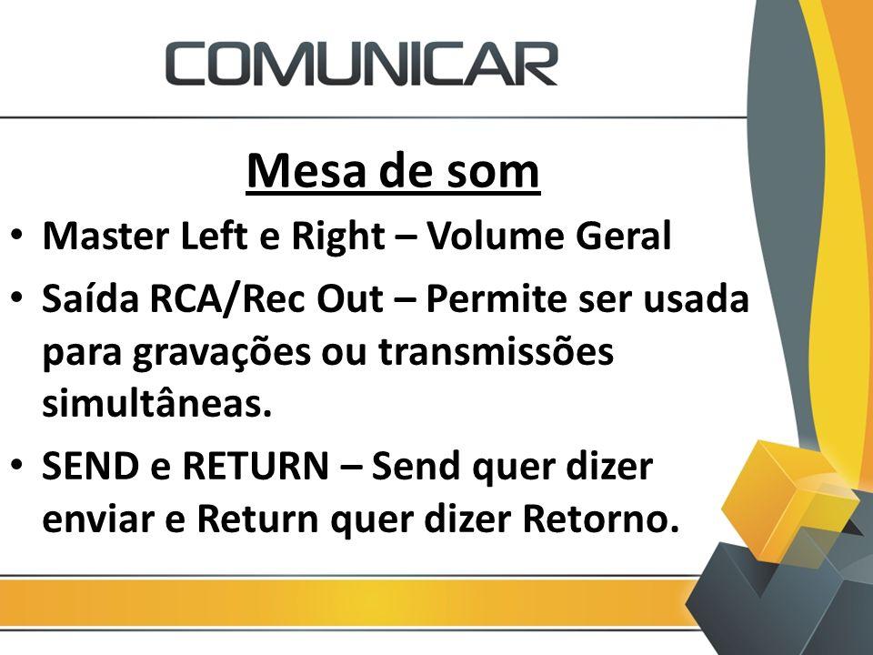 Mesa de som Master Left e Right – Volume Geral Saída RCA/Rec Out – Permite ser usada para gravações ou transmissões simultâneas. SEND e RETURN – Send