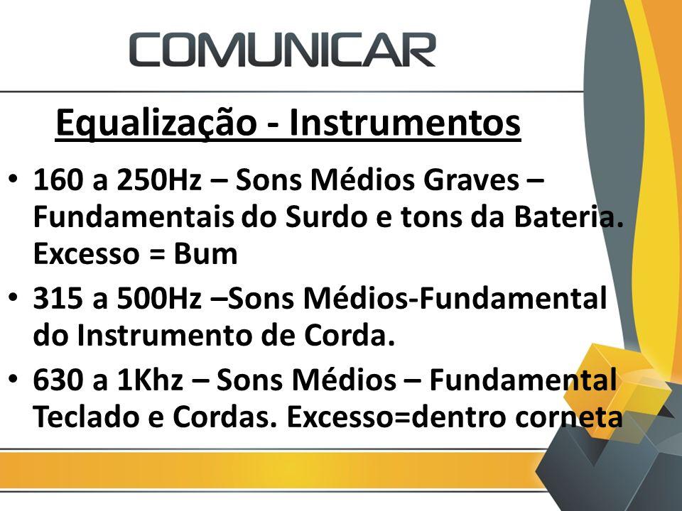 Equalização - Instrumentos 160 a 250Hz – Sons Médios Graves – Fundamentais do Surdo e tons da Bateria. Excesso = Bum 315 a 500Hz –Sons Médios-Fundamen