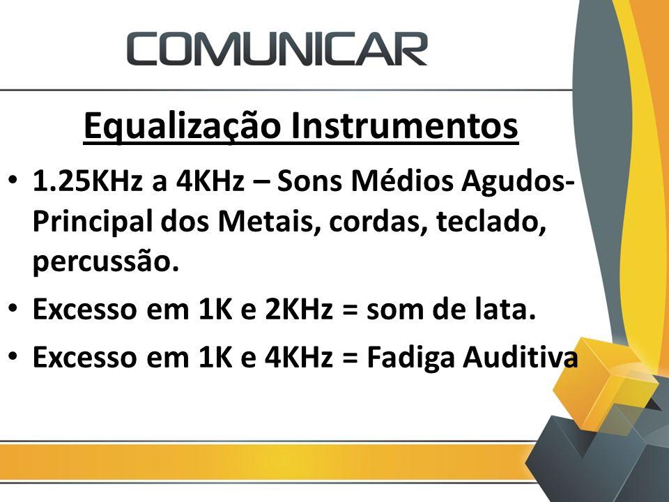 Equalização Instrumentos 1.25KHz a 4KHz – Sons Médios Agudos- Principal dos Metais, cordas, teclado, percussão. Excesso em 1K e 2KHz = som de lata. Ex