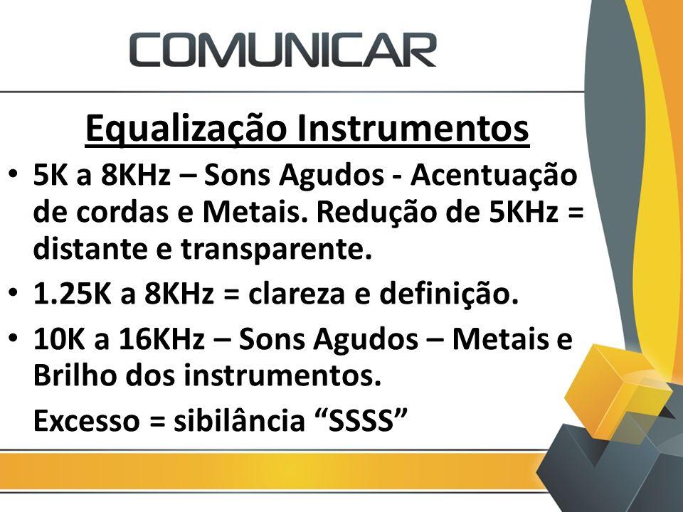 Equalização Instrumentos 5K a 8KHz – Sons Agudos - Acentuação de cordas e Metais. Redução de 5KHz = distante e transparente. 1.25K a 8KHz = clareza e