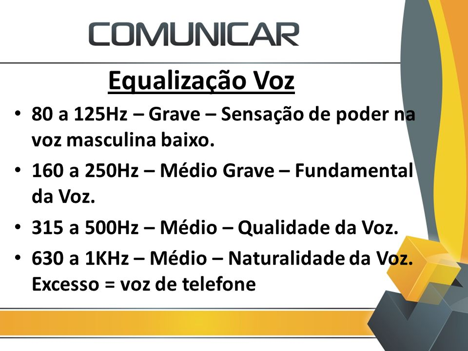 Equalização Voz 80 a 125Hz – Grave – Sensação de poder na voz masculina baixo. 160 a 250Hz – Médio Grave – Fundamental da Voz. 315 a 500Hz – Médio – Q
