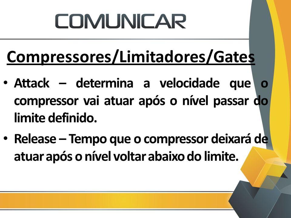 Compressores/Limitadores/Gates Attack – determina a velocidade que o compressor vai atuar após o nível passar do limite definido. Release – Tempo que