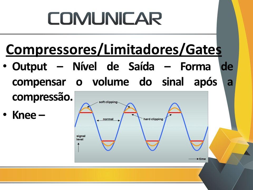 Compressores/Limitadores/Gates Output – Nível de Saída – Forma de compensar o volume do sinal após a compressão. Knee –