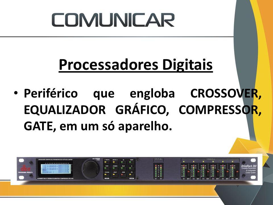 Processadores Digitais Periférico que engloba CROSSOVER, EQUALIZADOR GRÁFICO, COMPRESSOR, GATE, em um só aparelho.