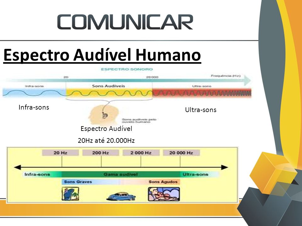Espectro Audível Humano Infra-sons Espectro Audível 20Hz até 20.000Hz Ultra-sons