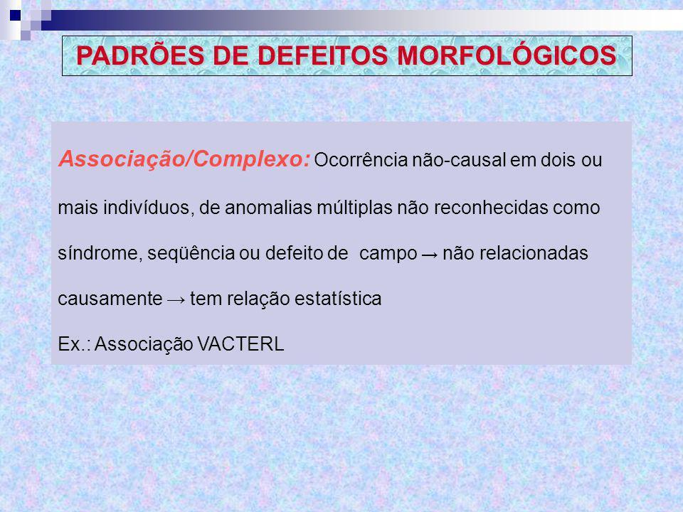 Associação/Complexo: Ocorrência não-causal em dois ou mais indivíduos, de anomalias múltiplas não reconhecidas como síndrome, seqüência ou defeito de